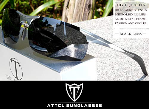 ATTCL Men's HOT Fashion Driving Polarized Sunglasses for Men Al-Mg Metal Frame Ultra Light A-Grey 8177