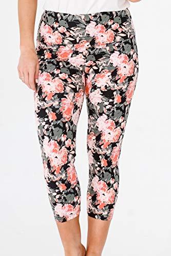 INTRO. Tummy Control High Waist Pull-On Printed Capri Cotton \ Spandex Legging Coral Lily Floral - Medium