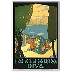 Lago di Garda (Lake Garda) - Riva, Italy - Vintage World Travel Poster by Antonio Simeoni c.1926 - Master Art Print - 13in x 19in