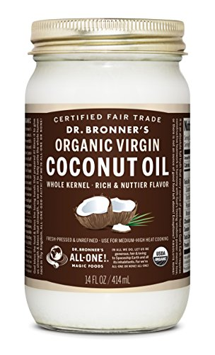 Dr. Bronners Organic Virgin Coconut Oil. Unrefined Whole Kernel Coconut Oil Tub. (14 oz. Glass Jar)
