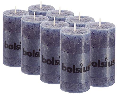 BOLSIUS 8 Pk. Dark Blue Rustic Pillar Party Wedding Candles Aprox. 2X4 Inches (100X50mm)