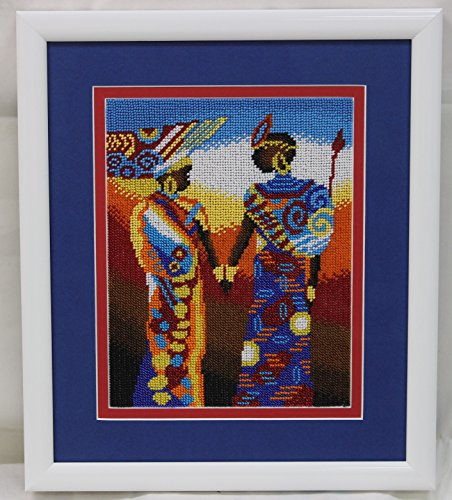 Africa theme seed bead embroidery/ home decor/ wall decor by Beads Master