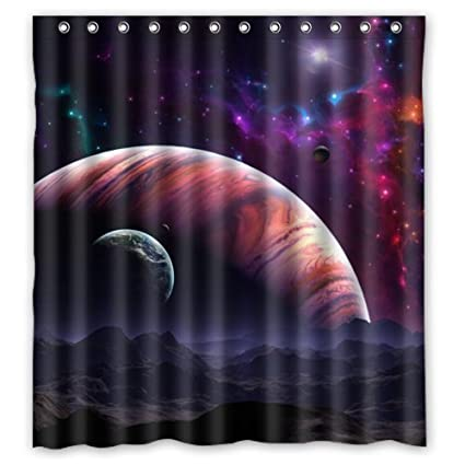 Waterproof Bathroom Fabric Shower Curtain Nebula Galaxy Moon Space Planet Star Universe Art Print Design