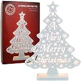 The Benross Christmas Workshop, Albero di Natale luminoso in legno, a batteria, con scrittaA Very Merry Christimas, Multicolore (mehrfarbig)