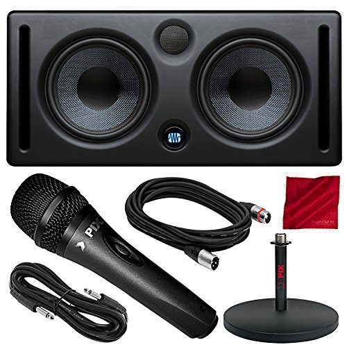 PreSonus Eris E66 Active MTM Series Nearfield Monitor with Xpix Dynamic Cardioid Studio Microphone, Studio Desktop Mic Stand, and Deluxe Accessory Bundle