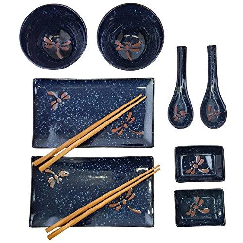 Japanese Tableware (Happy Sales HSBH85/N, 10-Piece Dinnerware Set Blue)