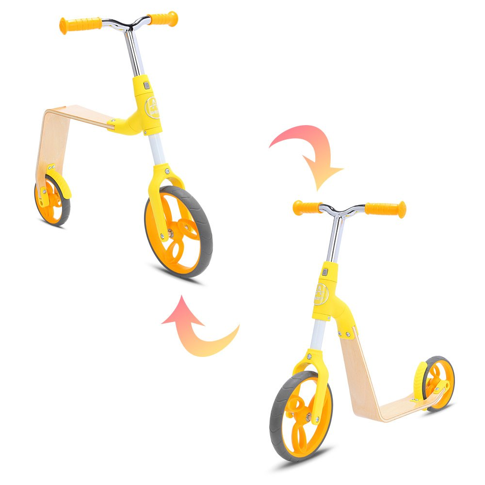 Kidshome Balance Bike for Kids Age 3-5 Two In One Function Mini Kick Scooter Adjustable (Yellow)