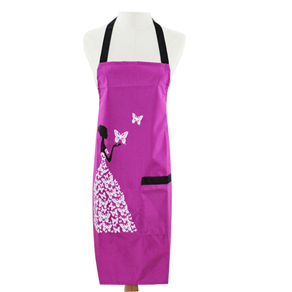Adjustable Bib Apron Waterproof Cooking Kitchen Aprons For Home Kitchen Restaurant Coffee House BBQ School College Cartoon Baeautiful Lady Print(HSW-097) (Purple) HANSHI