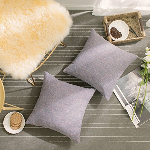 HOME BRILLIANT Cushion Covers Set 2 Pack Linen Chenille Blend Textured Home Decor Pillow Covers Accent for Sofa Couch Bed, 18x18 inches, Lavender ()