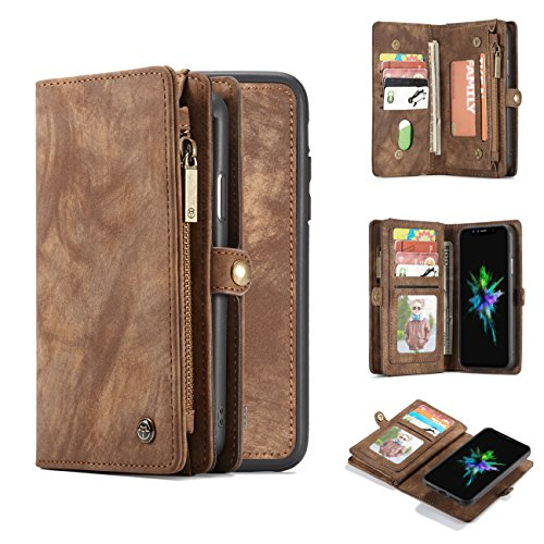 iPhone X/Xs Wallet Case,AKHVRS Handmade Premium Cowhide Leather Wallet Case,Zipper Wallet Case [Magnetic Closure]Detachable Magnetic Case & Card Slots for iPhone X/Xs - Brown