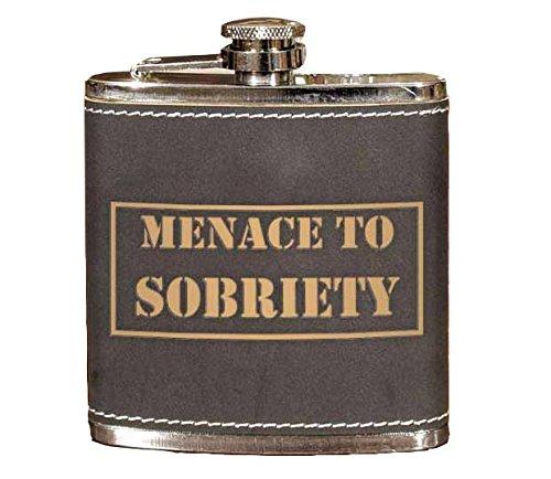 今季ブランド Menace to Menace Sobriety B07FJNDQ1H 6ozレザーフラスコ to B07FJNDQ1H, はんこdeハンコ:ee9cc40e --- a0267596.xsph.ru