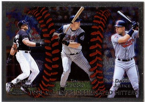 1999 Topps Chrome 456 Frank Thomas - Tim Salmon - David Justice - Baseball Card (Chrome Topps 1999 Baseball)