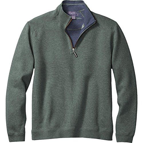 Tencel Jumper - Tommy Bahama Men's Flipsider Reversible Half-Zip Sweatshirt (Celadon Heather, X-Large)