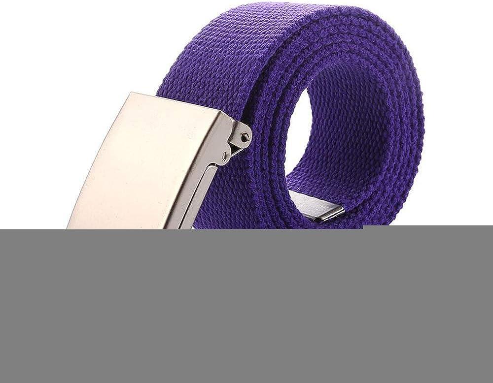 Mens Outdoor Belt Automatic Metal Buckle Canvas Casual Nylon Belt