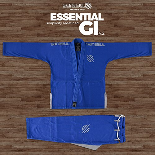 Sanabul Essentials Version 2 Ultra Light BJJ Jiu Jitsu Gi with Preshrunk Fabric (A3, Blue)