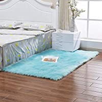 Indoor Furry Fluffy Soft Faux Sheepskin Carpet Pads, Modern Shaggy Area Rugs Children Play Carpet For Living & Bedroom Sofa