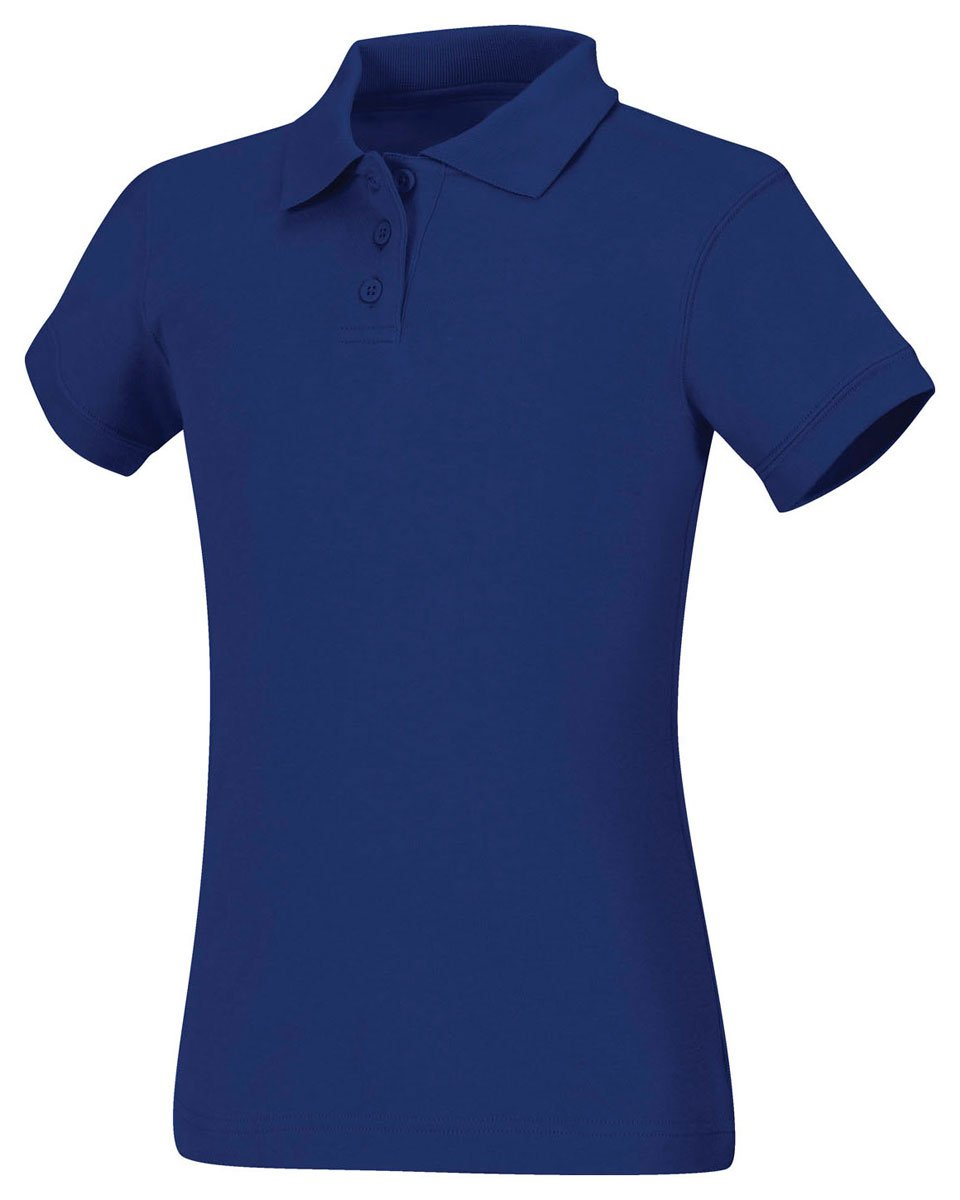 Classroom Uniforms Junior's Short Sleeve Fitted Interlock Polo, Sos Royal Blue, L by Classroom Uniforms
