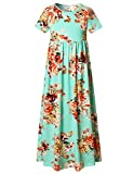 Cute Girls Pleated Fit and Flare Summer Casual Beach Vacation Maxi Dress, Mint Green Floral, 12-13 Years/Height:62in