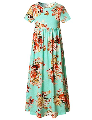 Cute Girls Pleated Fit and Flare Summer Casual Beach Vacation Maxi Dress, Mint Green Floral, 12-13 Years/Height:62in ()