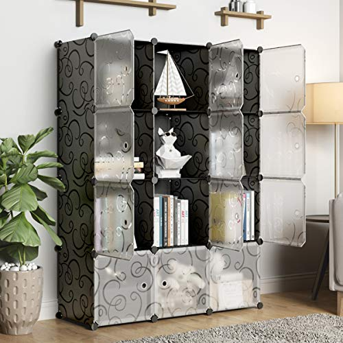 KOUSI Storage Cube Cube Organizer Cube Storage Shelves Cube Shelf Room Organizer Clothes Storage Cubby Shelving Bookshelf Toy Organizer Cabinet, Black with Doors,12 Cubes Storage by KOUSI (Image #2)