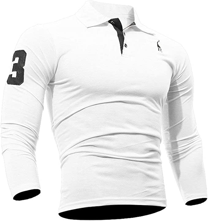 Camisa Polo De Manga Larga para Hombre Tops Moda Fit Ocasional ...