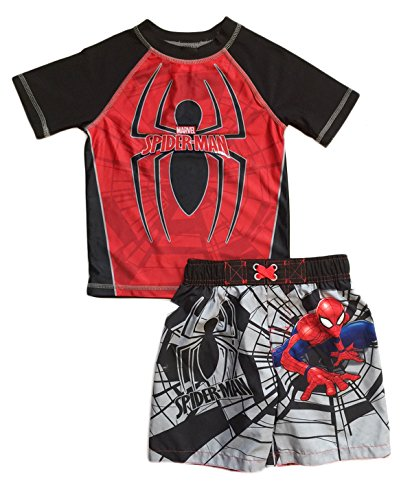 Dreamwave Spider Man Little Boys Toddler Swim Trunks and Rash Guard Shirt Set (5T)