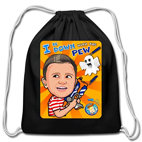 (Spreadshirt FUNnel Vision Down With The Pew Cotton Drawstring Bag, black)