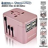 Power Plug Adapter - International Travel (Rose Gold)- w/4 USB Ports Work for 150+ Countries - 220 Volt Adapter - Travel Adapter Type C Type A Type G Type I for UK Japan China EU Europe European