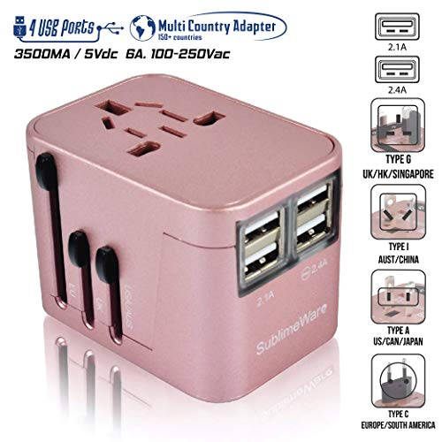 Power Plug Adapter - International Travel (Rose Gold)- w/4 USB Ports Work for 150+ Countries - 220 Volt Adapter - Travel Adapter Type C Type A Type G Type I -