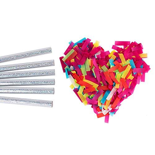 Battife Confetti Wands 7 Pack Paper Confetti Flick Sticks 100% Biodegradable Colorful Tissue Confetti Flutter for Wedding Celebrations, Valentine's Day, Anniversary, Birthday, Multi-Color, 14 inch