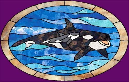 Stained Glass of an Orca Whale – Etched Vinyl Stained Glass Film, Static Cling Window Decal