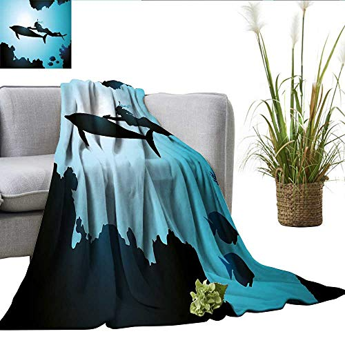 - Dolphin Queen Size Blanket Scuba Diver Girl Swimming with Dolphin Silhouette in Sea Fish Reefs Image Sherpa Throw Blanket Pale Blue Black W35 xL60