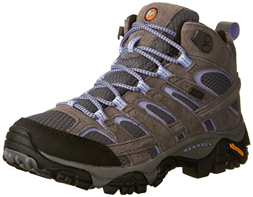 Merrell Women's Moab 2 Mid Waterproof Hiking Shoe, Grey/Periwinkle, 9.5 B(M) US