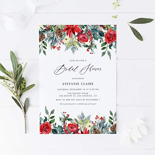 Dozili Bridal Shower Invitation DIY Watercolor Festive Christmas Flowers Bridal Shower Invitation