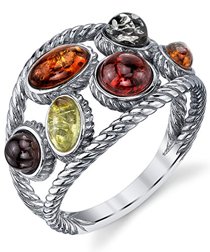 Braided Sterling Silver Baltic Amber Ring band with Multi Color Cabochon, Cherry Honey Olive and Cognac 7