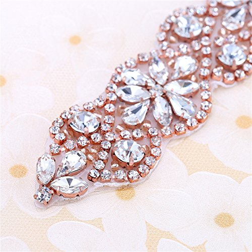 Hot Fix Handmade Rose Gold Bridal Dress Sash Crystal Applique - Import It  All 6404be49d879