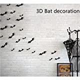 Kasego Halloween Party 36pcs/pack Black PVC 3D Decorative Bats Butterfly Wall Decal Wall Sticker, Halloween Eve Decor Home Window Decoration (22F)