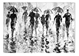 Startonight Canvas Wall Art Black and White Abstract Rainy Weather, Dual View Surprise Artwork Modern Framed Ready to Hang Wall Art 100% Original Art Painting 23.62 X 35.43 inch