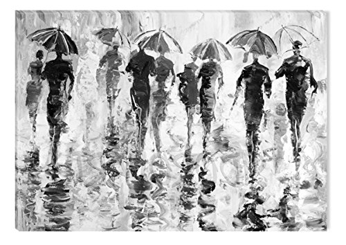 Startonight Canvas Wall Art Black and White Abstract Rainy Weather, Dual View Surprise Artwork Modern Framed Ready to Hang Wall Art 100% Original Art Painting 23.62 X 35.43 inch by Startonight