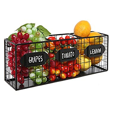 Black Metal Wall Mounted Mail Sorter / Kitchen Storage Basket / Pantry Organizer w/ Chalkboard Labels