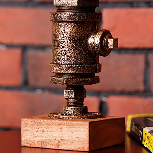Y-Nut Loft Style Lamp Steampunk Industrial Vintage Style, Water Pipe Table Desk Light with Dimmer BTN16-0602, Aged Rustic Bronze Metal by Y-Nut (Image #4)