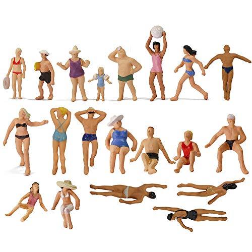 Evemodel P8719 40pcs Model Trains Swimming Figures 1:87 Scale HO Scale People Scenery Layout Landscape Miniature