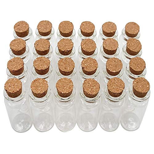 Axe Sickle 24PCS 10ml Cork Stoppers Glass Bottles DIY Decoration Mini Glass Bottles Favors, Mini Vials Cork, Message Glass Bottle Vial Cork, Small Glass Bottles Jars Corks for Wedding Party Favors.