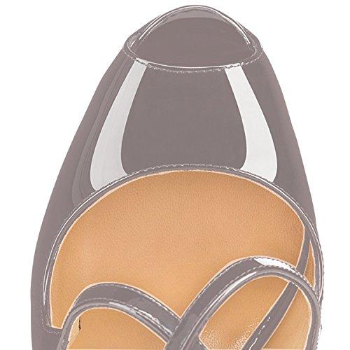 Donna Classiche Cross Criss elashe Strap Toe Scarpe Grigio Plateau Scarpe Scarpe con 15CM col Tacco da Peep qxBzfwE