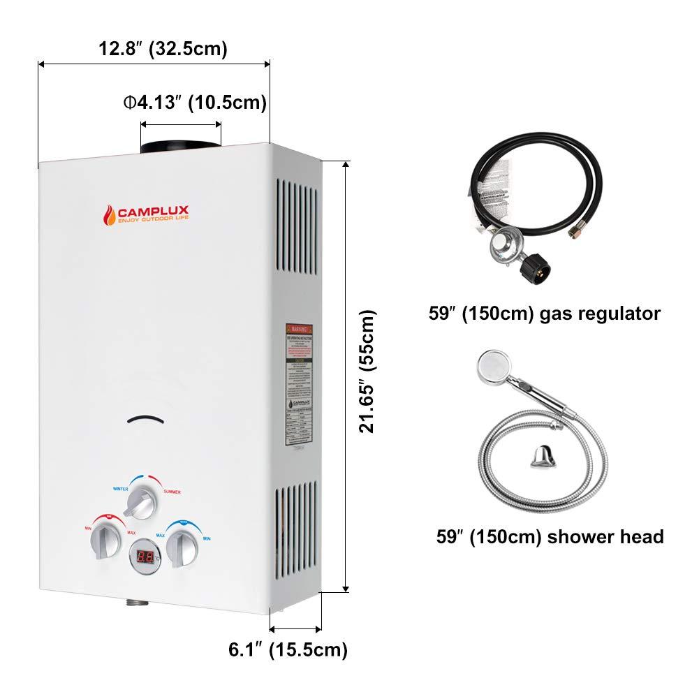 Camplux Calentador de agua portátil de 10 l para exteriores con regulador CE: Amazon.es: Bricolaje y herramientas