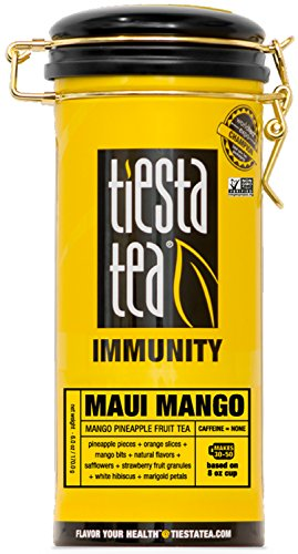 Tiesta Tea Maui Mango, Mango Pineapple Fruit Tea, 50 Servings, 6 Ounce Tin, Caffeine Free, Loose Leaf Herbal Tea Immunity Blend, Non-GMO ()
