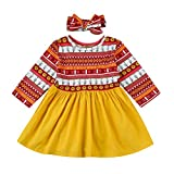 Sharemen Toddler Kids Girls Dress Long Sleeve Floral Print Dresses Headband Outfit (0-6 Months, Multicolor)