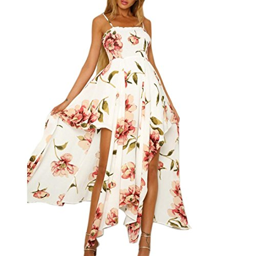 Clearance Sale! Wintialy Women Sexy Floral Printed Sling Sleeveless Lace-up Split Irregular Long Dress