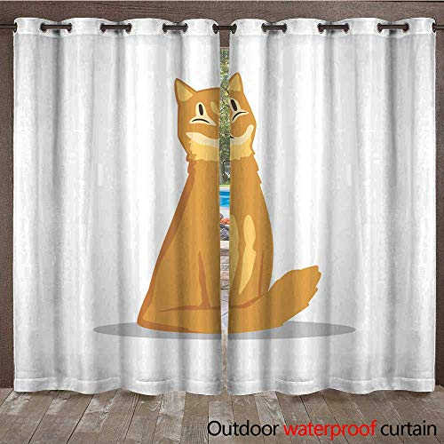 RenteriaDecor Outdoor Curtains for Patio Sheer Fluffy red haired cat Sitting with Happy Muzzle Cartoon pet Character Flat Vector Design for Promo Banner of Zoo Shop ve W108 x L84