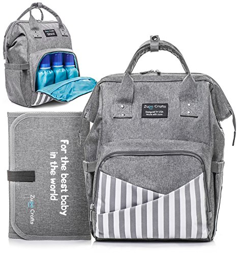 Diaper Bag Backpack – Large Waterproof Unisex Baby Diaper Backpack – Nappy Stylish Bags for Women with Stroller Straps 3 Insulated Bottle Pockets – Changing Pad for Travel with Baby